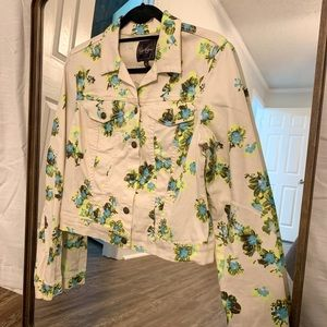 Jessica Simpson Floral Print Jean Jacket